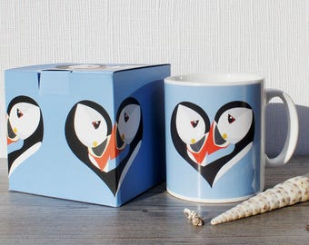 Puffin Mug Puffin bird watcher gift mothers day gift office coffee mug gift for her wife gift girlfriend gift cute mug bird mug love heart