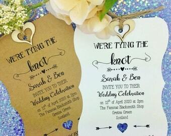 Tying The Knot Rustic Wedding Invitation, Vintage Wedding Invitation, We Do