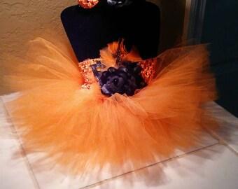 New born Orange & Black tutu with headband set