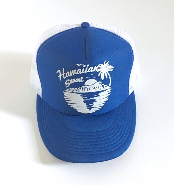 Hawaiian Sunset Trucker Hat in Blue Screen Print| Aloha Hat| Hawaii Hat| diamondhead| sunset| 80s Hat | Beach Hat| Vin