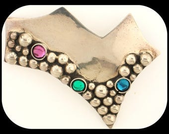Vintage MEXICO TP-111 925 Sterling Silver Multi Color Stones Modern Brooch