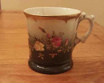 Antique shaving mug, gold trim with floral design