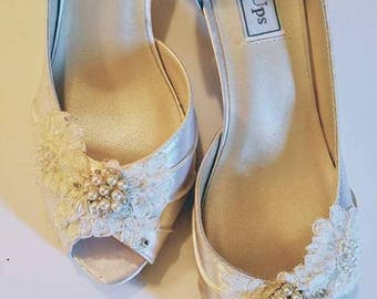 Wedding Shoes - High Heels - One of a Kind Shoes - Size 8.5 - Ivory