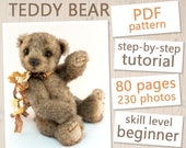 Teddy Bear PATTERN & Tutorial - Instant download PDF, sewing pattern, instructions, step-by-step tutorial, sew teddy bear