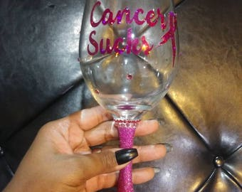Handmade breast cancer awareness wine glass