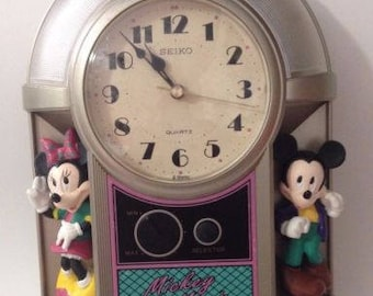 vintage seiko disney mickey mouse and minnie mouse jukebox musical lightup alarm clock