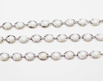 N0042/Anti-Tarnished Rhodium Plating Over Brass+Artificial pearl/Scallop Motivated Chain/7x5mm/1yard