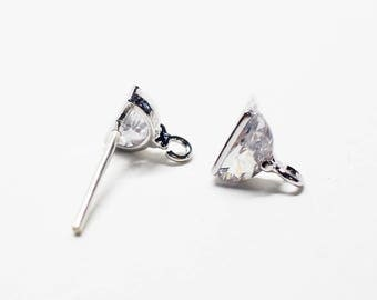 E0206/Anti-Tarnished Rhodium Plating Over Brass + Sterling Silver Post/Semi Circular Stud Earrings/6X6.5mm(include ring)/2pcs