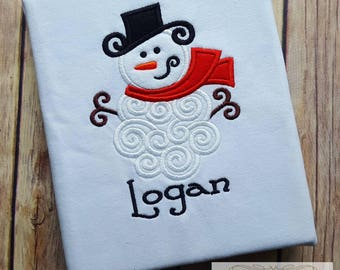 Personalized Snowman Shirt Christmas Shirt Embroidered Christmas Shirt Applique Snowman Shirt Applique Christmas Shirt