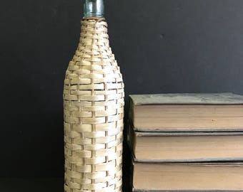 Wrapped straw bottle, wicker wrapped bottle, old wine bottle, wicker woven bottle, bar decor