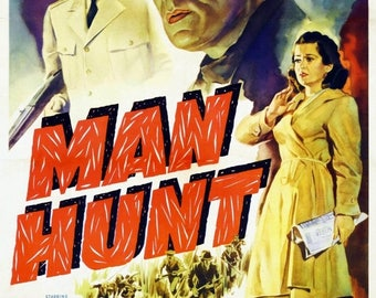 Back to School Sale: Man Hunt Movie POSTER (1941) Thriller/Drama