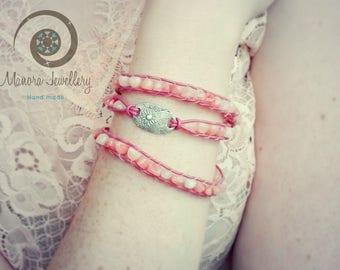 triple wrap bracelet, Leather wrap Bracelet, Boho wrap Bracelet, Boho bracelet, Silver bracelet, Silver boho wrap bracelet, flower silver