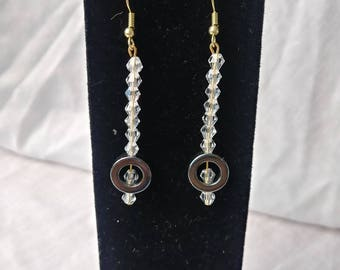 Hematite disc crystal faceted earrings