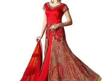 Indian Designer Red & Beige Colored Lehenga Salwar Suit Anarkali heavy embroidered Suit Dress