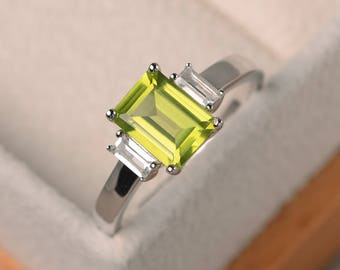 Natural peridot ring, promise ring, emerald cut green gemstone, August birthstone, sterling silver ring