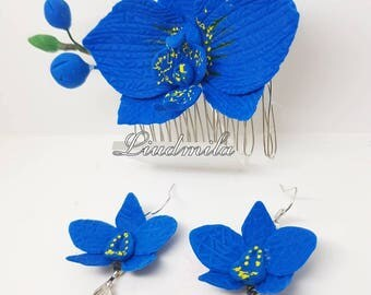 Orchid hair clip and earrings