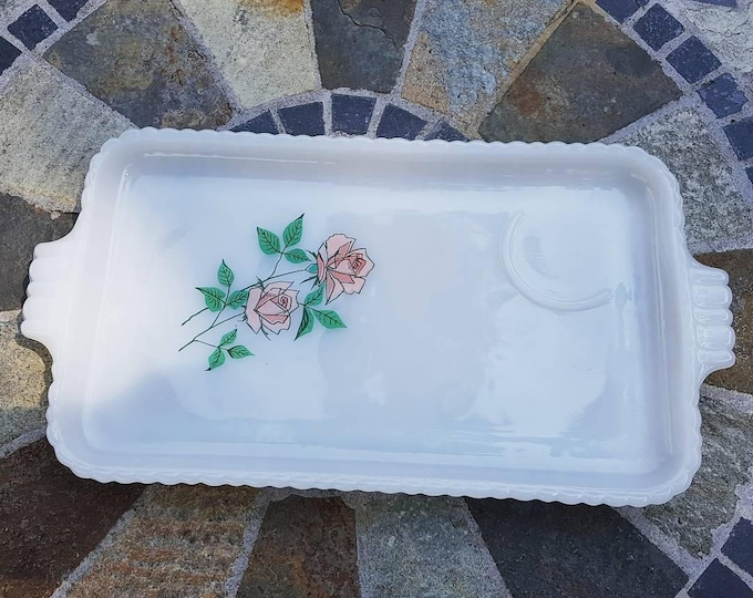 Milkglass Rose Motif Plates - Set of Four