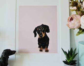 Cute dachshund print, dachshund art, dachshund lovers gift, black and tan dachshund, doxie decor, doxie art, sausage dog print