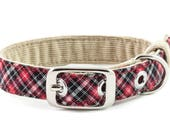 Classic dog collar, small size // red, black, white plaid - gift for white dog - gift for black dog - preppy style collar