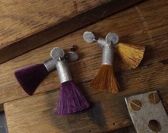Tassel earrings Raw sterling silver Boho earrings Bohemian Handmade