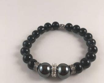 Hematite and Navy blue bracelets