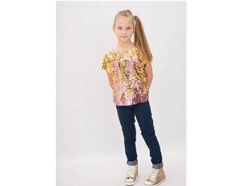 Ava Reversible Top , Two Tone Sequin Top , Partywear , Girls Sequin Top ,  Mermaid Top , Sherbertclothinguk
