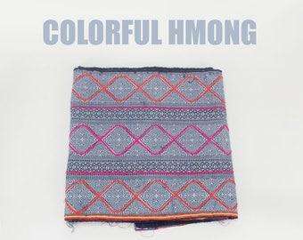 Hmong Hill Tribe Fabric - Hmong Cotton Indigo Fabric - Hmong Fabric - Indigo Fabric Yardage - Embroidered Handwoven Ethnic Fabric White Blue