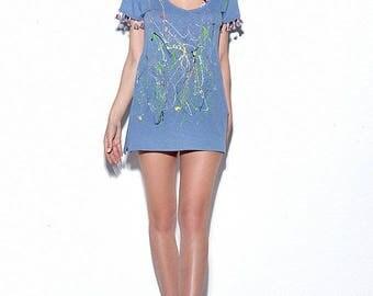 Hand painted tshirt,Colourful tshirt,Blue tshirt,Summer tshirt,Personalized gift,Gift for her,Gift for women,Gift for girlfriend,Summer gift