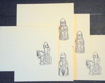 Viking Greeting Cards. Norse Chessmen. Acid-Free Cardstock. Designed, Printed in USA. Five Cards, 5 Envelopes, 3 design.
