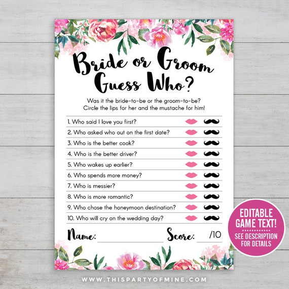 Bride Or Groom Guess Who PRINTABLE Bridal Shower Game