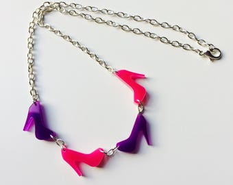 Sale | Heels | Pleasers | Pole Dance | Stiletto | Sassy | Purple | Pink | Laser Cut | Acrylic | Necklace
