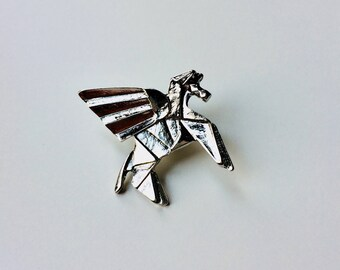 Pegasus | Unicorn | Geometric | Origami | Cute | Pin | Badge | Retro | Hipster | Upcycle | Accesory | Modify