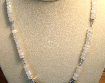Natural Kyanite, Rainbow Moonstone and Sterling Silver Necklace