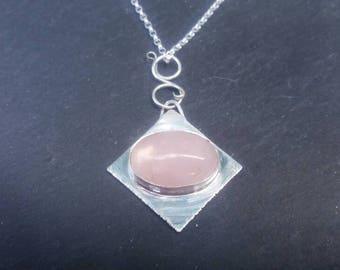 Sterling silver rose quartz Oval gemstone diamond pendant necklace, pink, bezel setting,cabochon,handcrafted,fine silver,satin, bespoke