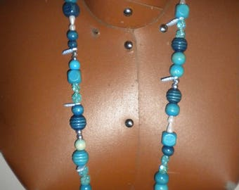 handmade necklace with blue colored wooden beads