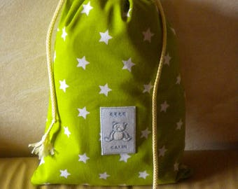 bag has linen hug sewn fabric 100% cotton