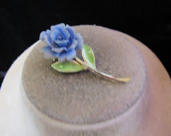 Vintage Signed JJ Large Blue Floral Green Enameled Leaves Pin