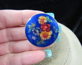 Vintage Blue & Multi Colored Enameled Floral Pin