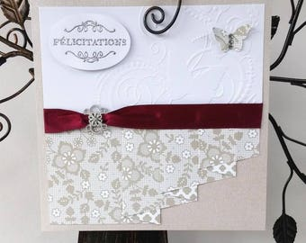 Wedding congratulations card - Butterflies - Burgundy sash - rhinestone