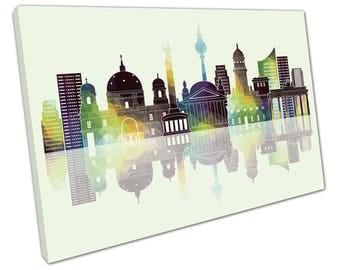 print on canvas wall art Green Midnight Landmarks of Berlin City Germany Skyline - X1943