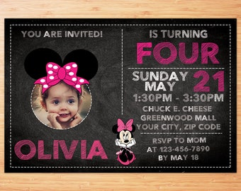 MINNIE MOUSE inspired, personalized, printable digital invitation with photo