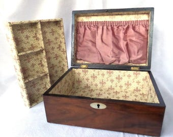 """Antique Mahogany Box, Mother of Pearl, New Paper Lining, 10.5"""" x 7.5"""" x 4.75"""", Excellent Condition, Ideal Sewing, Keepsake, Jewelry Box"""