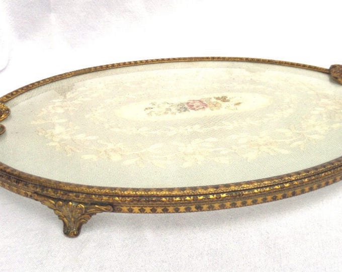 """Filigree Brass, Embroidered Lace Dressing Table Tray, Footed Vanity Tray, Regent of London, Gilted Brass, Ivory, Immaculate, 15.5"""" x 10.25"""""""
