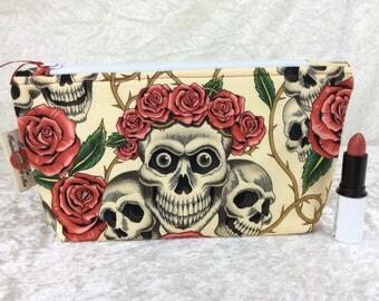 Rose Tattoo Skulls gothic Zip Case Bag Pouch fabric Alexander Henry Handmade in England