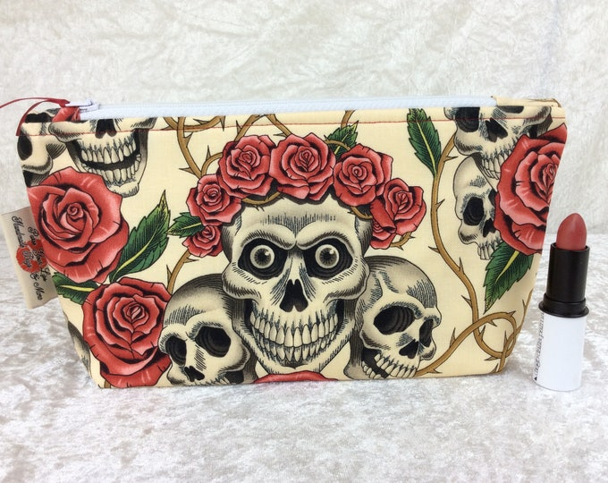 Rose Tattoo Skulls gothic Zip Case Bag Pouch fabric Alexander Henry Handmade in England