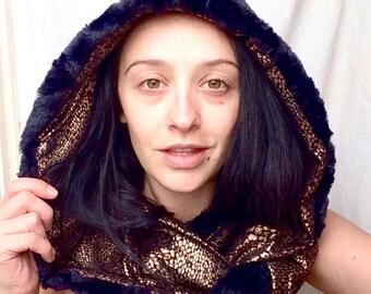 Reversible hooded infinity scarf/ handmade hood scarf/ party hoods / festival hood/ metallic reptile and luxury faux fur/ infinity scarves