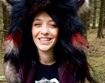 Wolf hood/where the wild things are/ massive animal hood/spirit hood/ tribal wolf / spirit animal/ deep hood/ black fox/ festival hood/ wolf