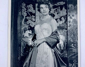 Jacqueline Kennedy Postcard, Photo by Yousuf Karsh, Vintage 1960 Post Card, Camelot. Black & White Photography