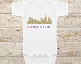 Quality custom shirts and accessories by ellugifts on etsy made in charlottecharlotte skylineinfant onesiecoming home outfitnorth carolina negle Choice Image
