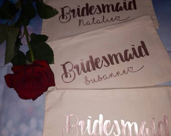 Bridesmaid gift, maid of honour gift, rose gold, flower girl gift, mother of the bride, makeup bag, bridesmaid bag, personalised wedding,